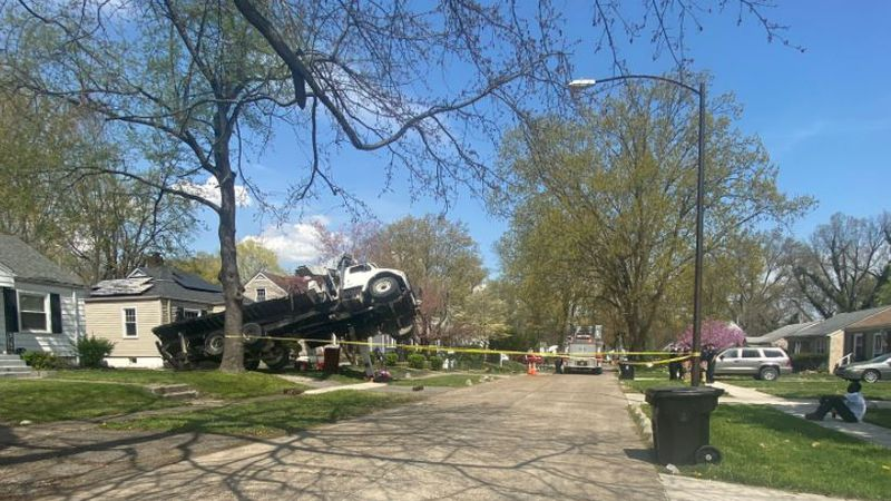 A crane fell onto a house in west Louisville, but fortunately, no injuries were reported.
