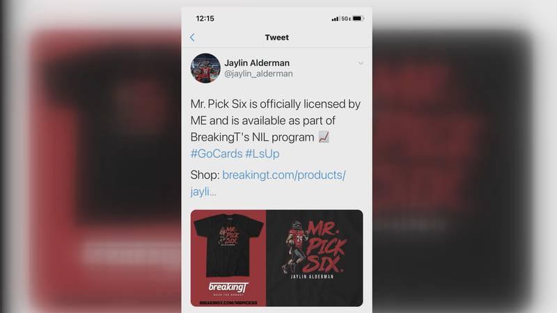 "UofL linebacker Jaylin Alderman marketing ""Mr. Pick Six"" merchandise"