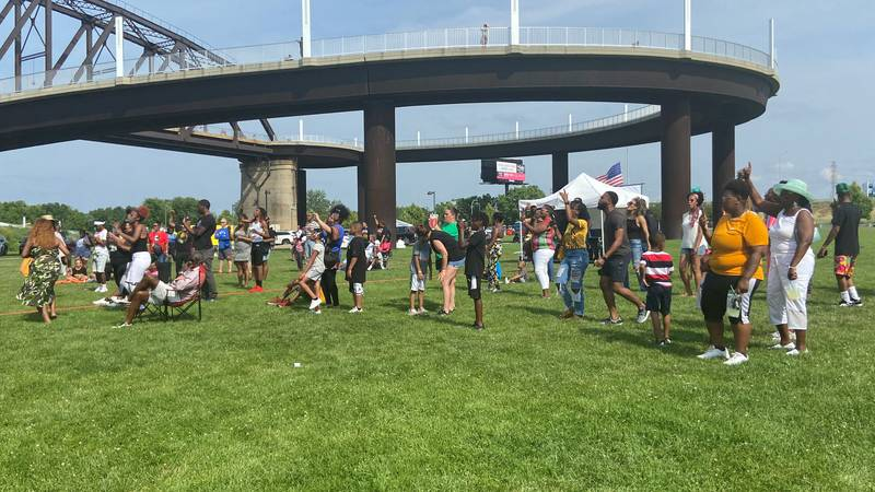 The Louisville Juneteenth Festival brought hundreds of people out to the Waterfront on Saturday...
