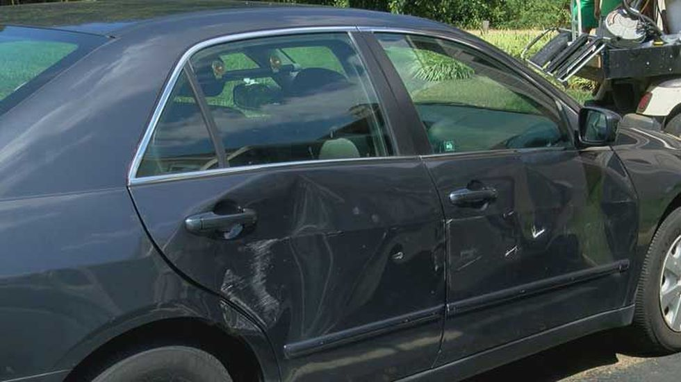 This is the damage to the car from the bus crash. (Source: WAVE 3 News)