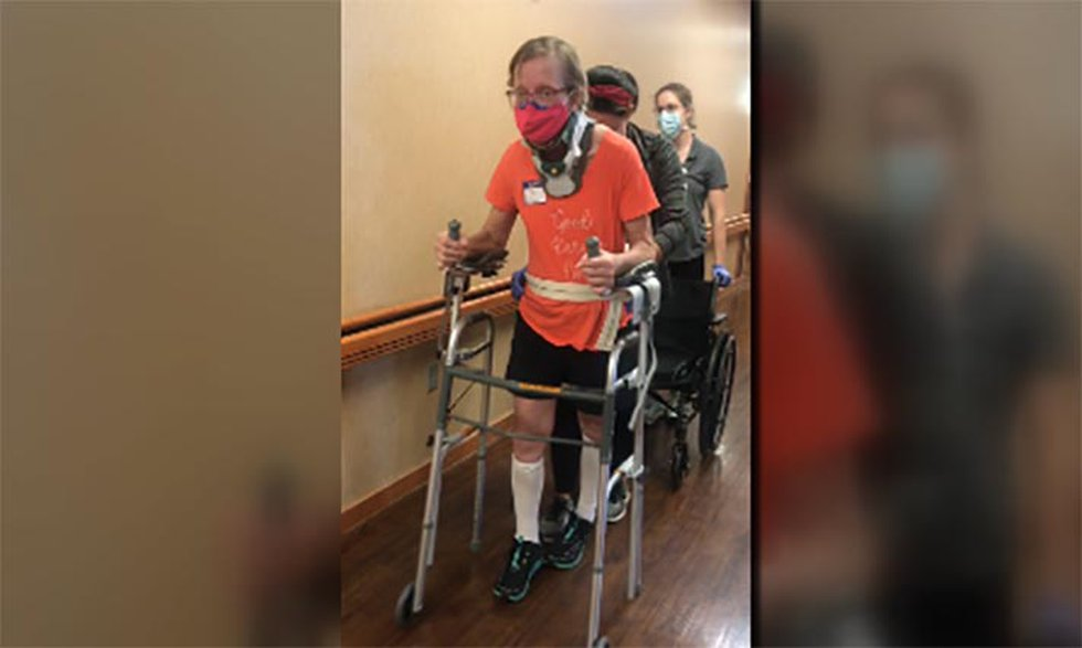 after fractured her spine in a bike accident, Petrina Crabtree had to learn to talk all over...