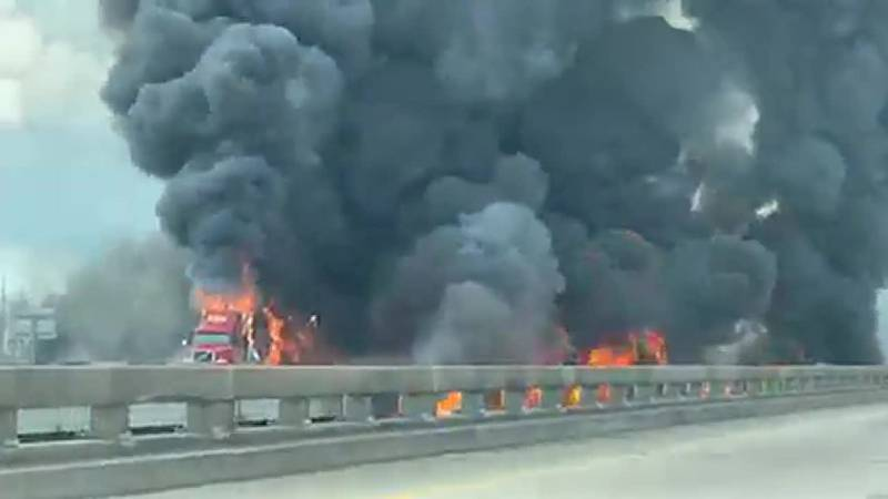 An 18-wheeler caught fire on I-10 East in St. Charles Parish, forcing I-10 East to close....