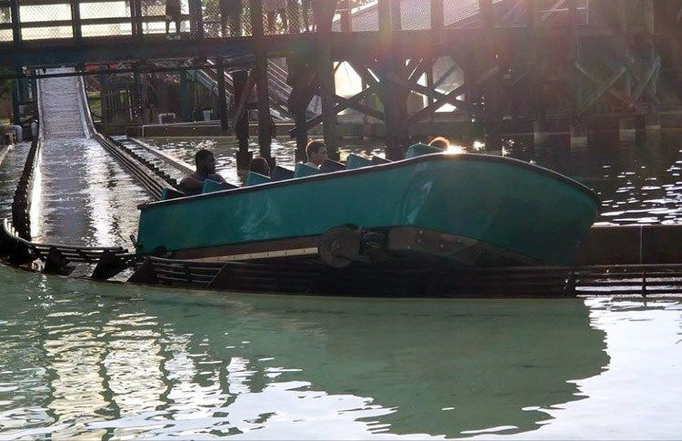 The boat became lodged in a safety rail on its way back to the station. (Source: Don S. / WAVE...