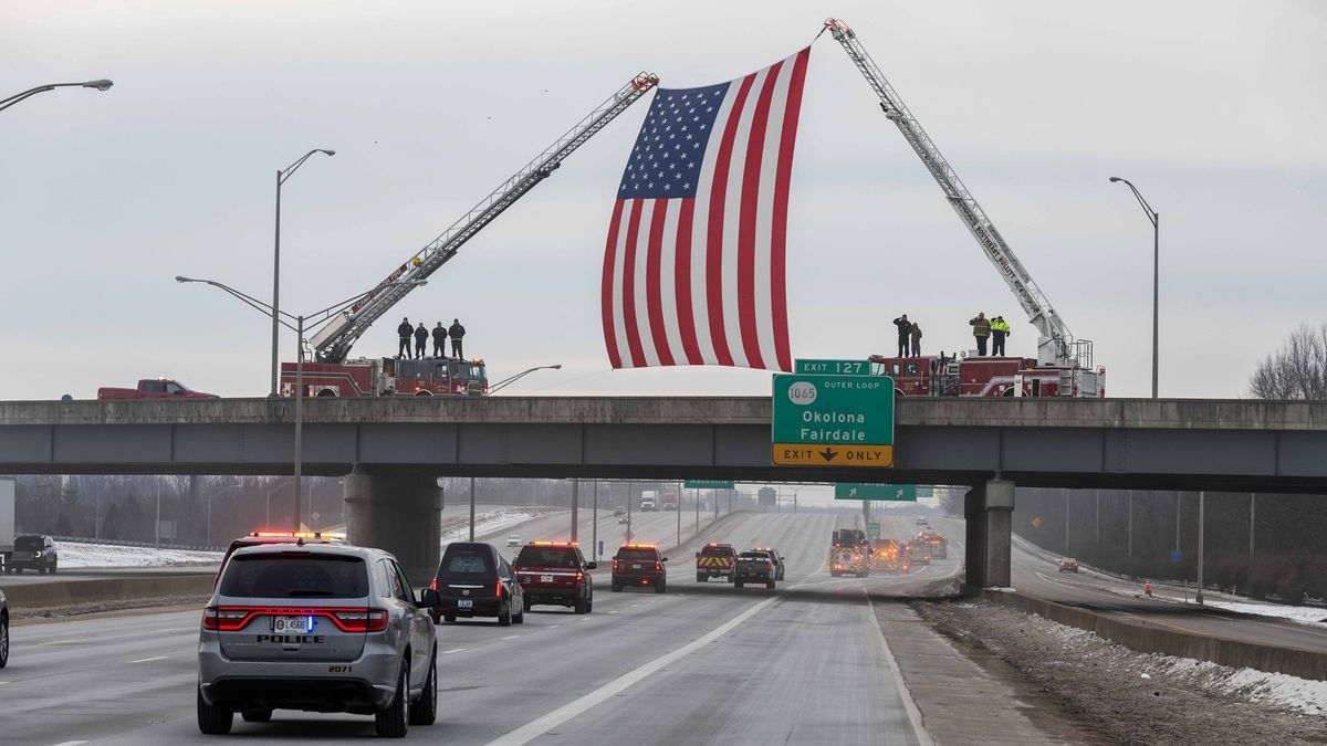 Officials with Zoneton Fire, Police, and EMS gathered for a sendoff to Fire Major Garry Key,...