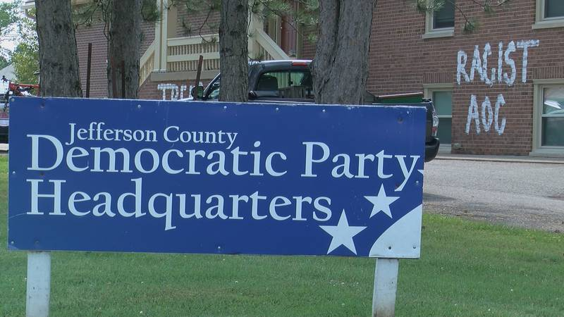 The graffiti was found on the side of the Jefferson Co. Democratic HQ on July 28.