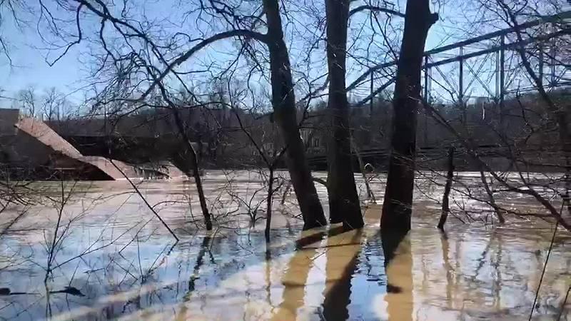 WATCH: Runaway marina crashes into bridge along swollen Kentucky River