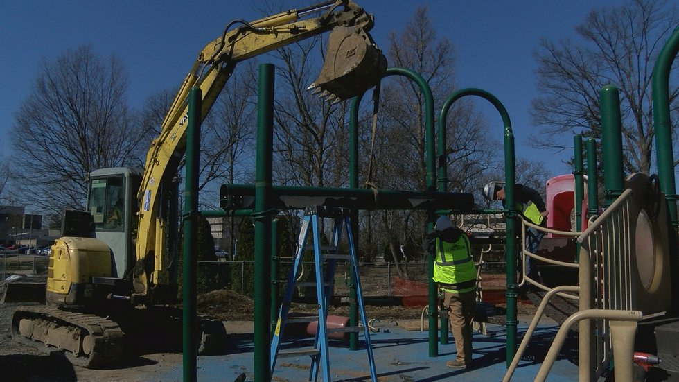 The playground was disassembled and will travel over 2,500 miles to Belize, where it will be...