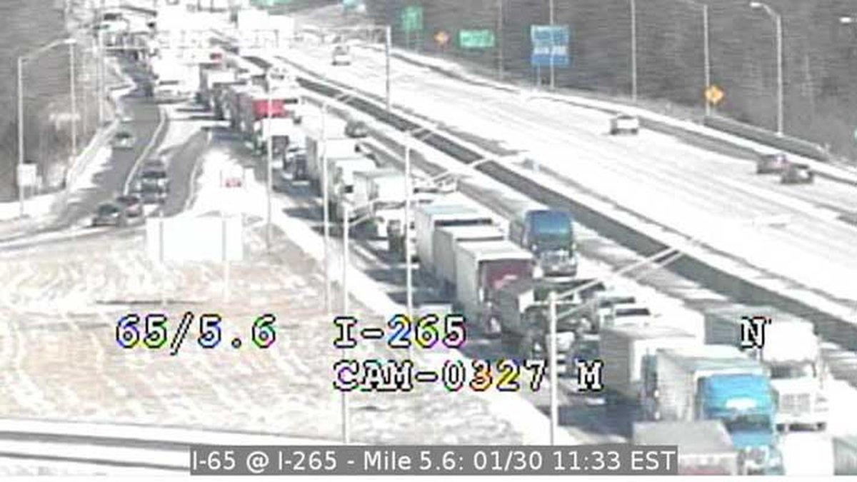 An Indiana Department of transportation camera shows the traffic backup on I-65 South at the...
