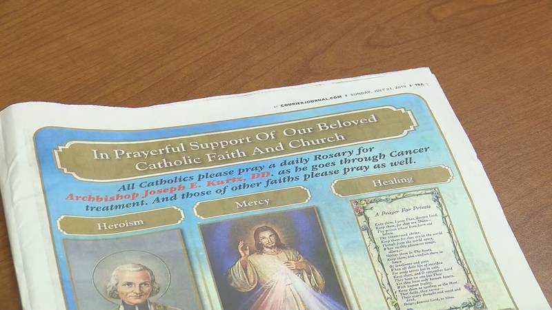 The full-page, color advertisement appeared in the Courier Journal and asked for prayer and...
