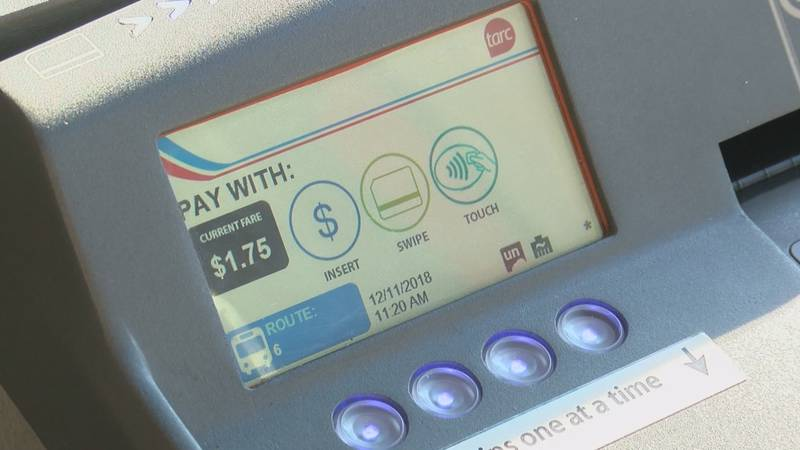 An electronic fare box on a TARC bus. Riders now swipe a MyTARC card to pay.