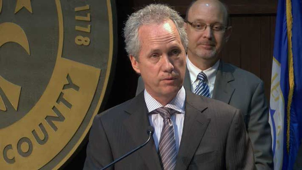 Mayor Greg Fischer at the news conference announcing the hiring of Tony Parrott. (Source: WAVE...