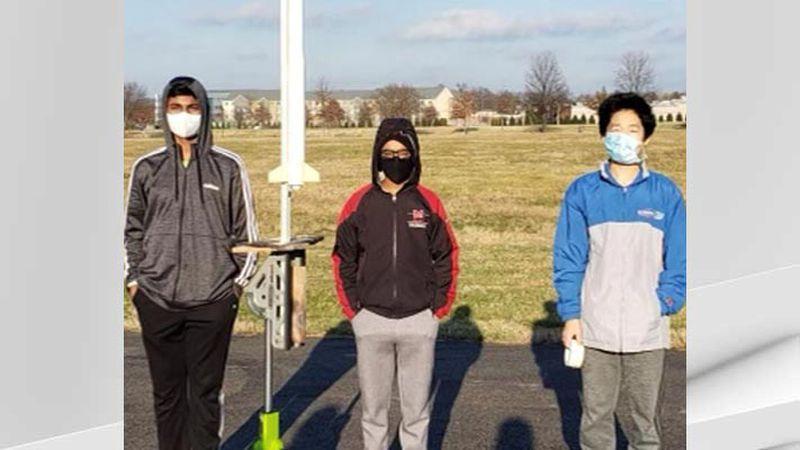 The Meyzeek Middle School rocketry team - Himanish Lingamaneni, Vallabh Ramesh and Richard Lian.