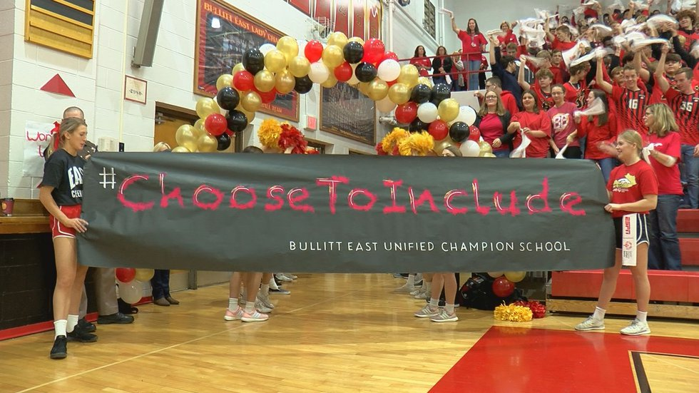 Bullitt East High School unveiled a banner in honor of their Unified Sports program which...