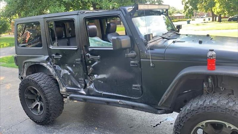 Cortezz Dickerson's Jeep was hit during a protest by an LMPD SWAT truck.