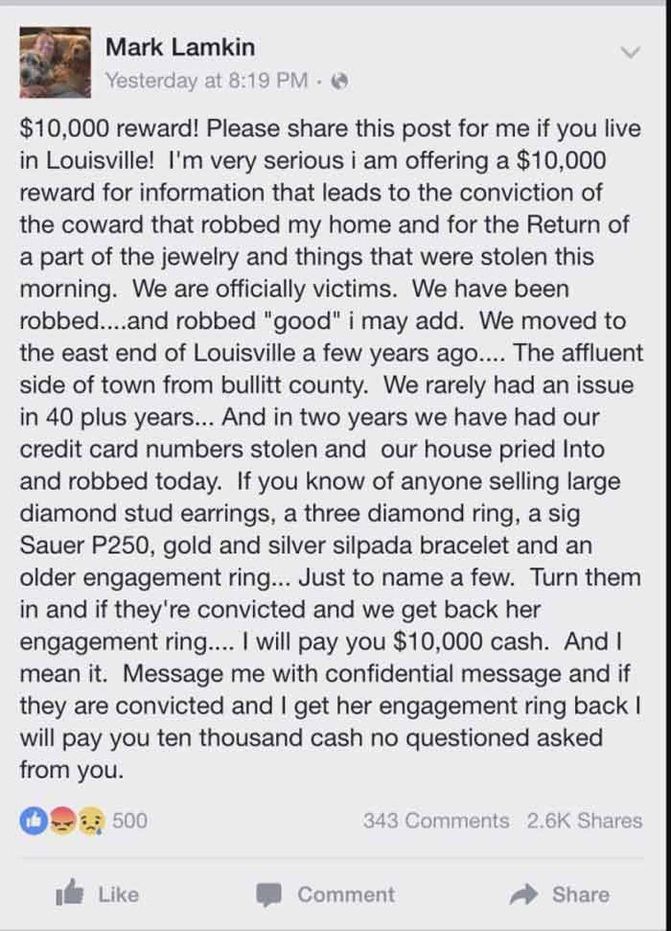 Here is Lamkin's plea for the return of the items taken from his home. (Source: Facebook)