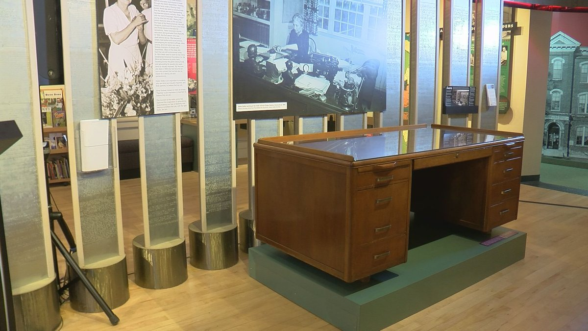 The writing desk used by Helen Keller is on display at the American Printing House for the Blind.