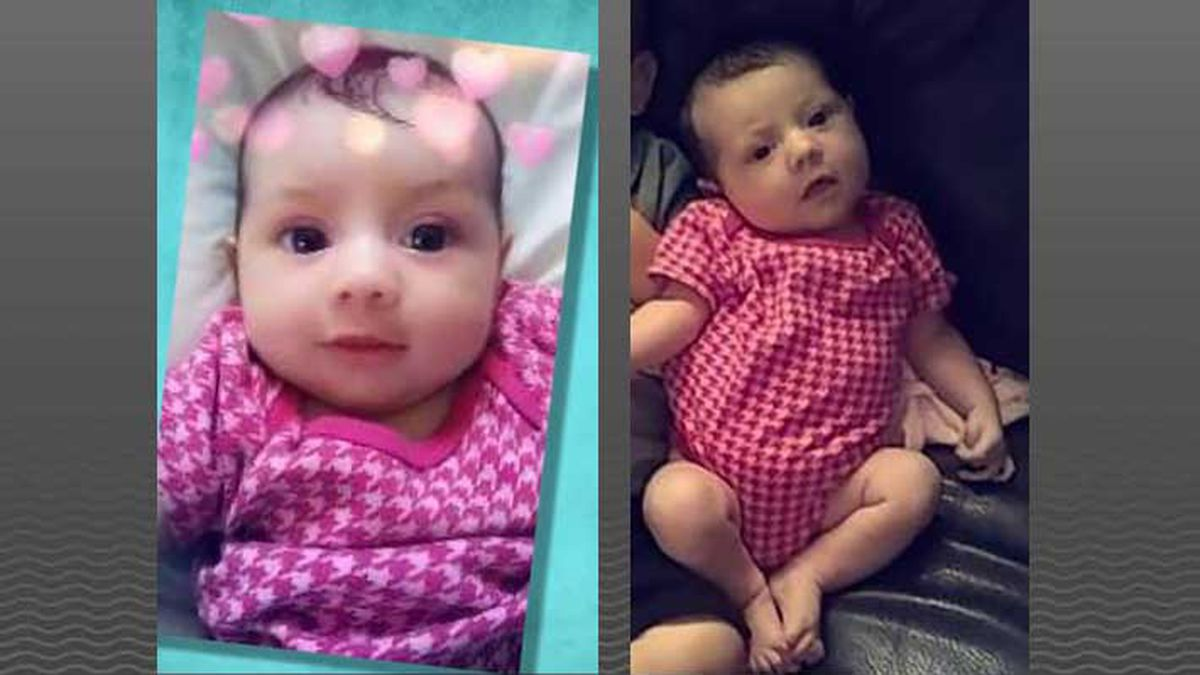 Amiah Robertson is an 8-month-old white female, 23 inches tall and 13 pounds with blond hair...