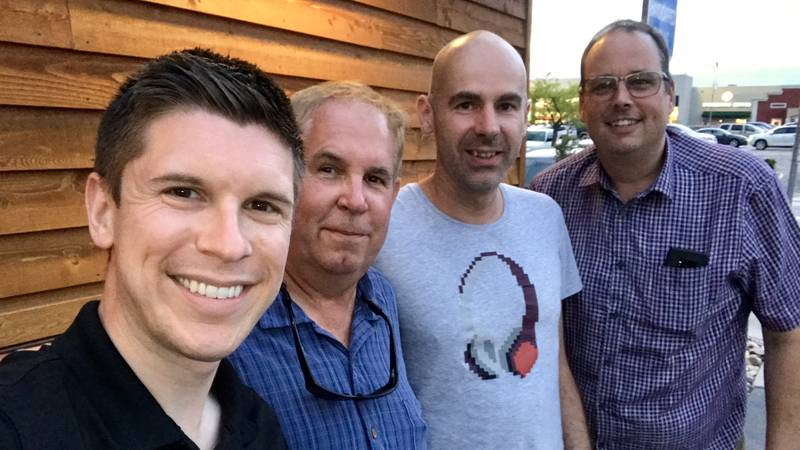 Meteorologist Ryan Hoke pictured alongside Storm Chasing Adventure Tours leader Todd Thorn, and...