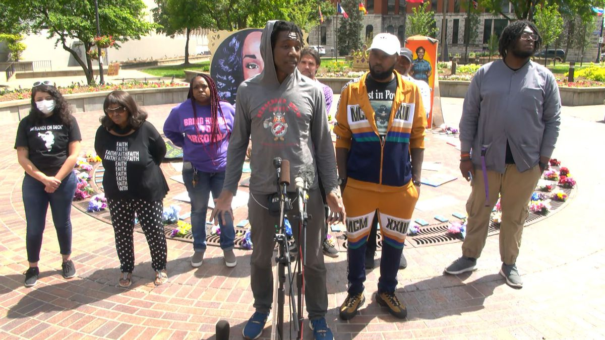 Protesters at Jefferson Square Park called on Mayor Greg Fischer and LMPD Chief Erika Shields...