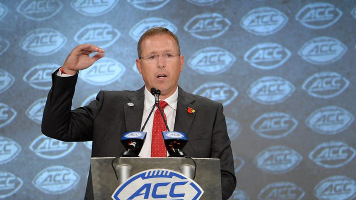 Louisville head coach Scott Satterfield addresses the media during the 2019 ACC Football...