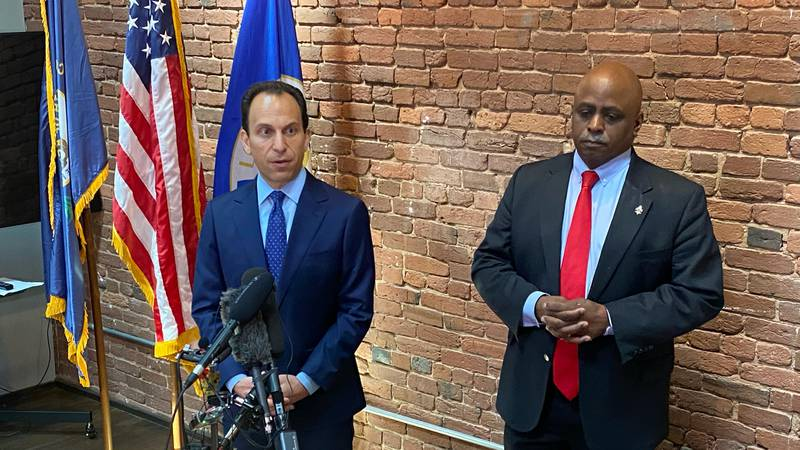 Council president David James and Craig Greensburg.