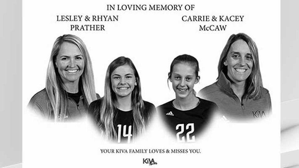 Kacey McCaw, 12, and her mother, Carrie McCaw, 44, along with Rhyan Prather, 12, and her...