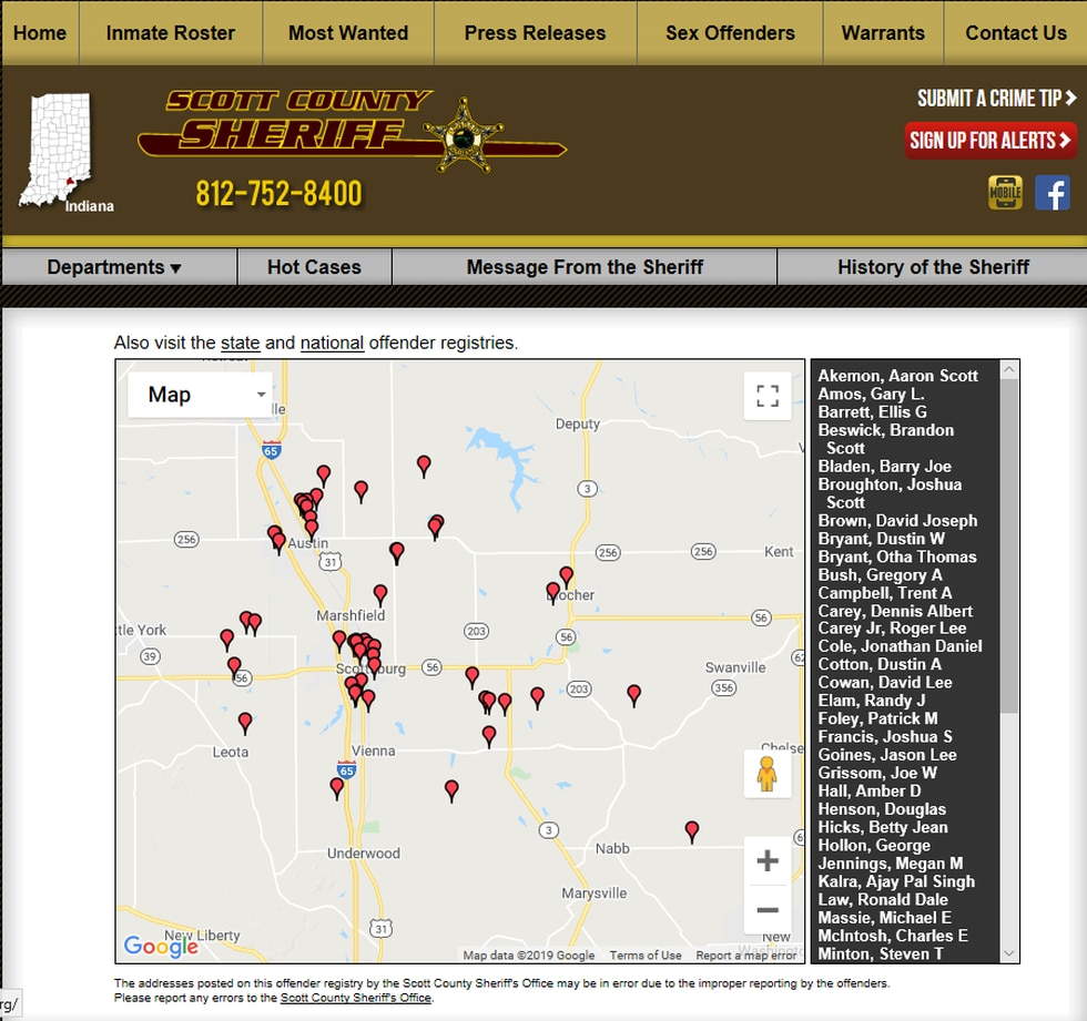 You can track down people in your city or neighborhood through a statewide database for Indiana...