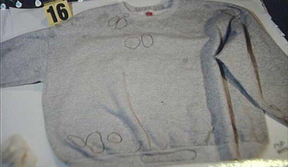 "The gray sweatshirt with ""backbone"" written on the inside collar."