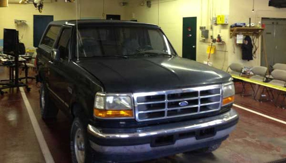 Investigators recovered a bullet lodged between the Bronco's dashboard and windshield.