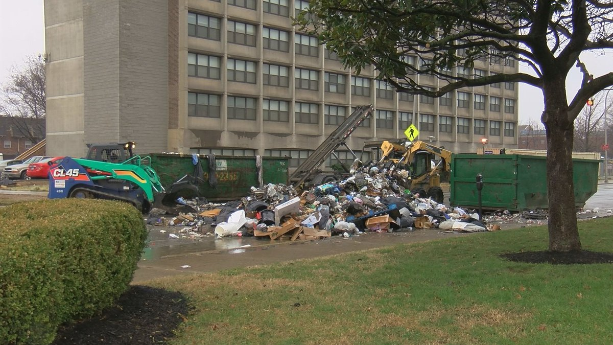 The intersection was shut down while equipment was used to clean the mess.