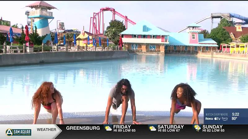 Phylicia Ashley takes on surfing at Kentucky Kingdom
