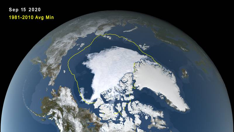 Arctic sea ice minimum, Sept. 15 2020, with labels, 30-year average extents in yellow, print...