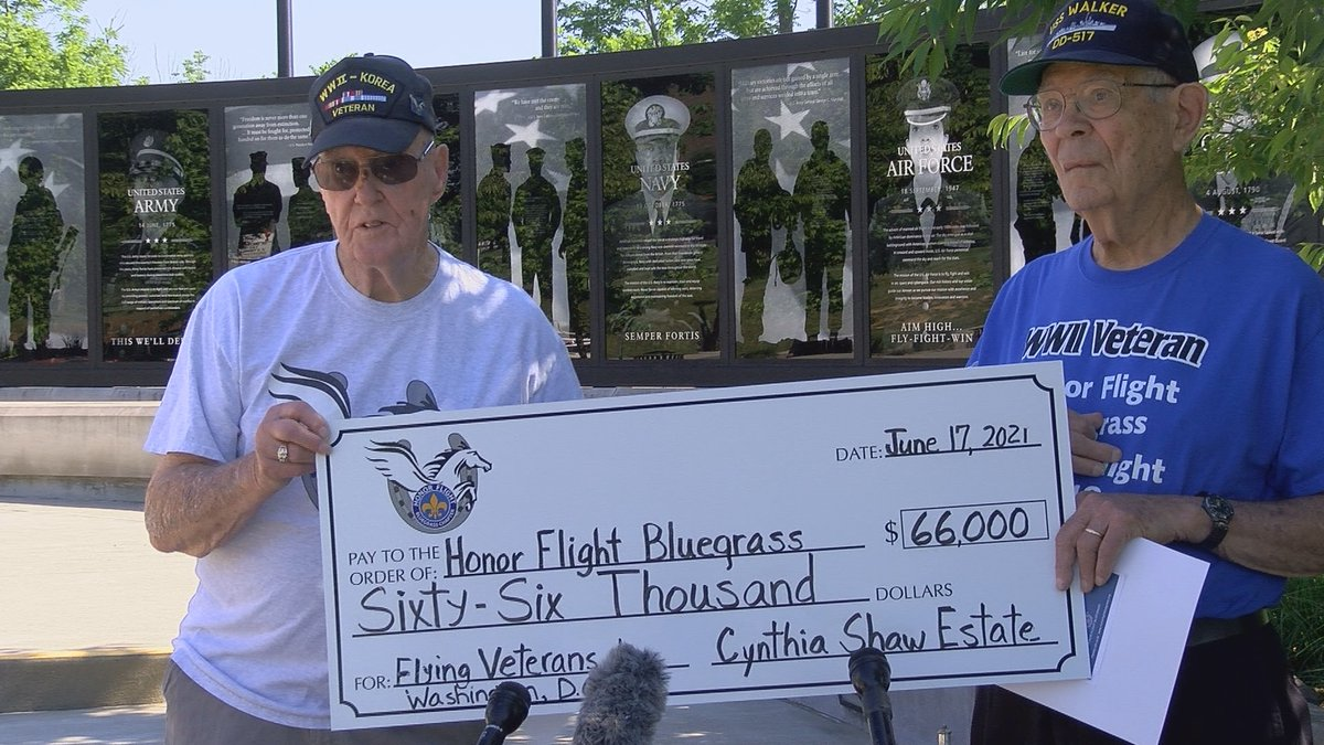 The check helps fund a portion of the 2021 Blue Grass Honor Flight