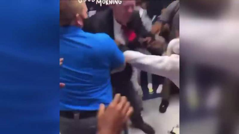 At least one teacher and a student were involved in a large fight at Marion C. Moore School...