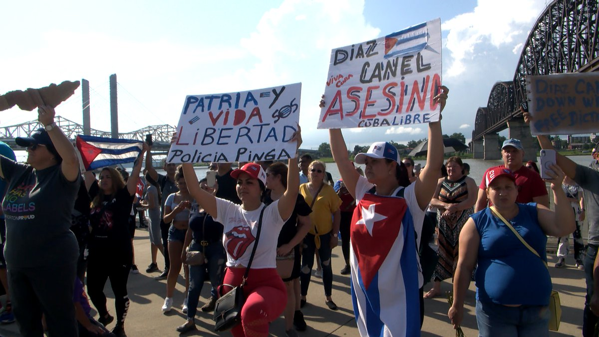 Many in Louisville showed their support for the citizens of Cuba as the island nation faces a...