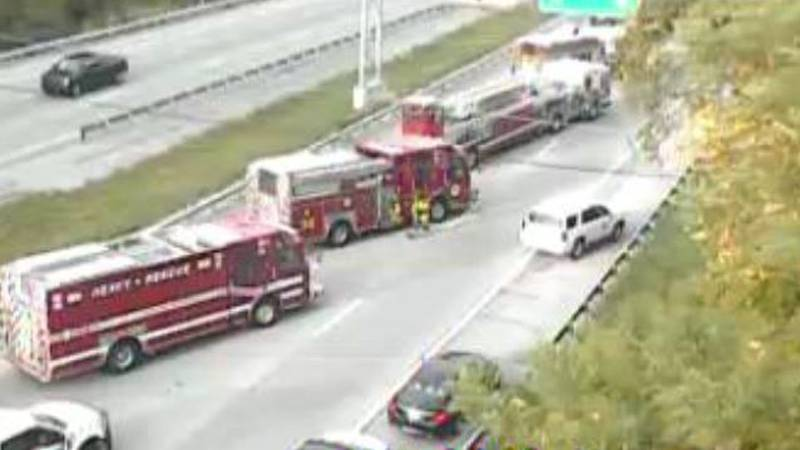 The semi overturned in the southbound lanes of I-71 near Interstate 264, according to TRIMARC.