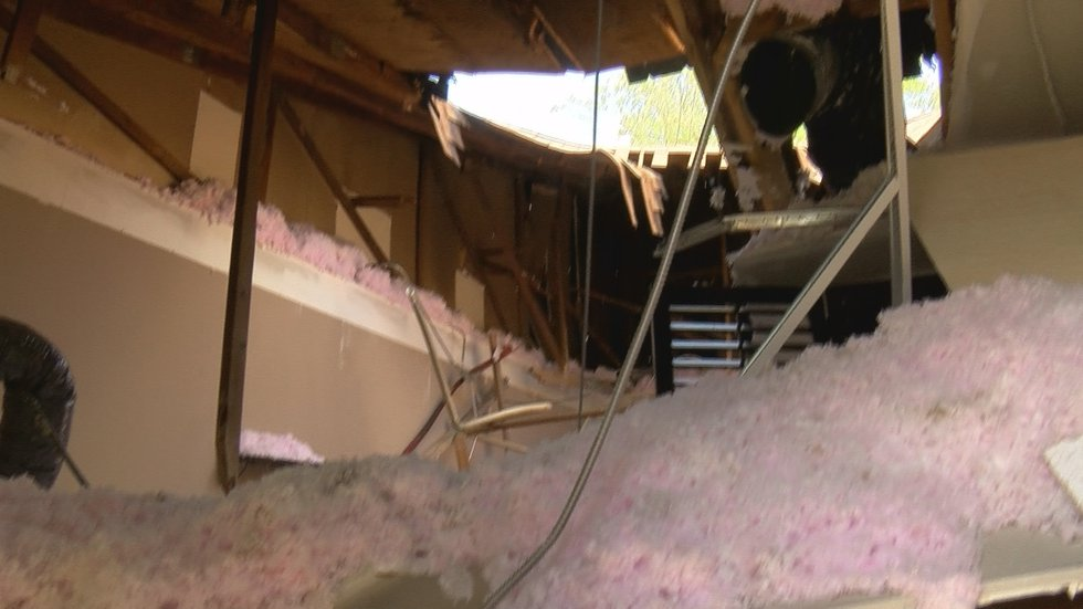 A look inside Charim restaurant in St. Matthews shows the true extent of the roof collapse.