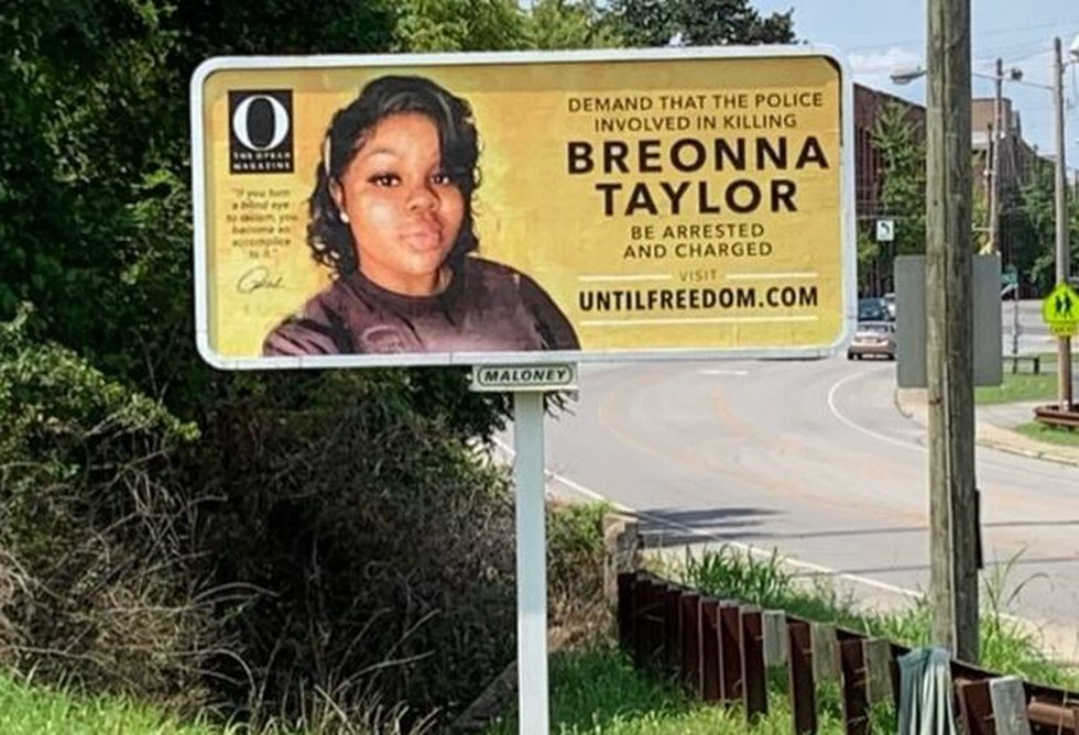 A WAVE 3 News crew found a cleaned-up Breonna Taylor billboard a few hours after it was...