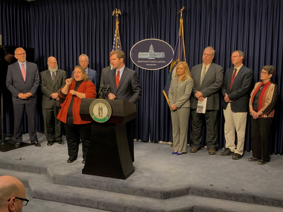 Gov. Andy Beshear and state leaders spoke about the coronavirus cases in Kentucky Monday monring.