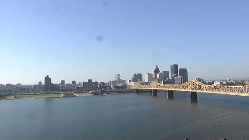 The downtown Louisville skyline as seen from the WAVE 3 News SyTrack Camera in Jeffersonville,...