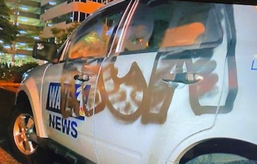 WAVE 3 News car vandalized in downtown Louisville during a protest for Breonna Taylor.