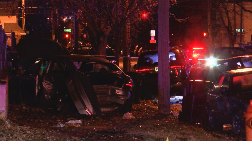 LMPD said the initial crash caused a domino effect of crashes on the road and several parked...