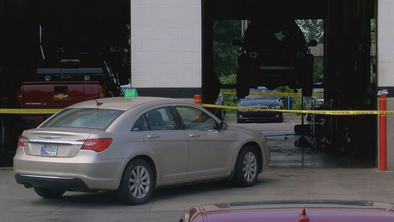 A heavy police presence can be seen at the Big O Tires, located at 2550 Allison Lane. (Source:...