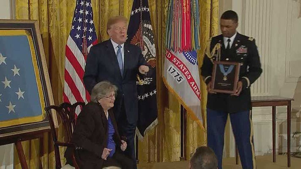 President Trump presented Conner's widow with his Medal of Honor. (Source: NBC News)