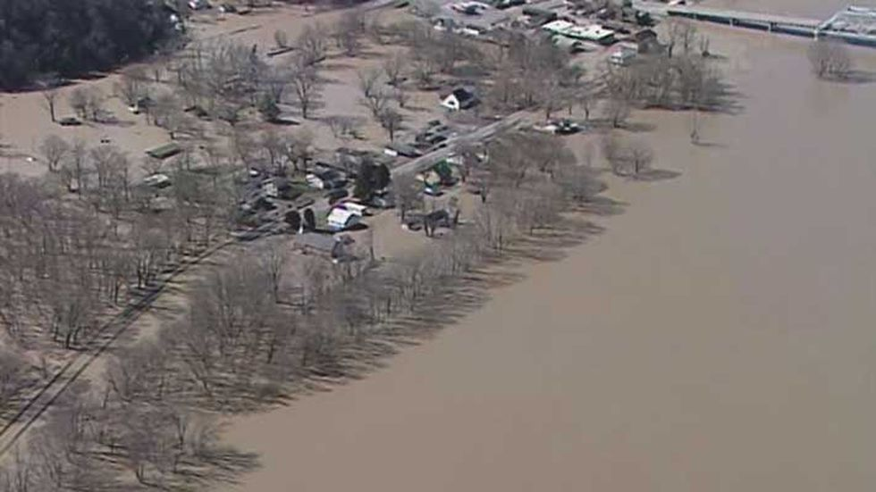 Milton, Kentucky homes and businesses have also been swallowed by the Ohio River. (Source: Air...