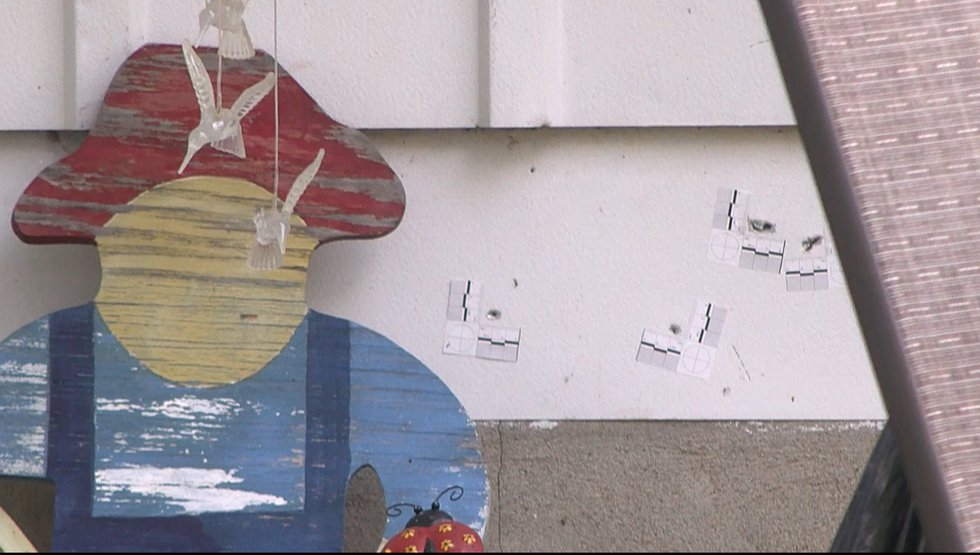 Bullet holes were still visible Tuesday morning at a Newburg home where two children were shot...