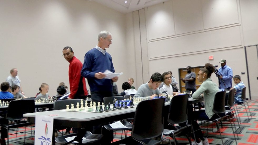 Players deep in thought at the tournament.