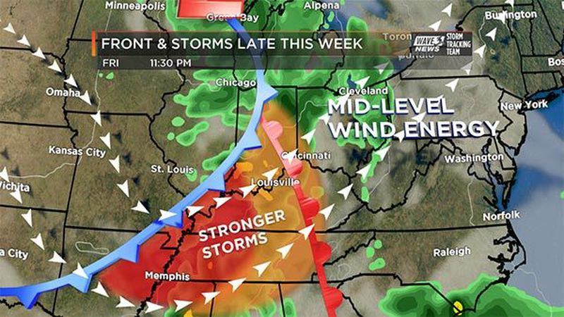 Strong to severe storms are possible on Friday