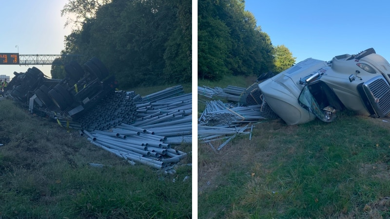 An overturned semi-truck blocked a lane of southbound Interstate 71 at Interstate 265 in...