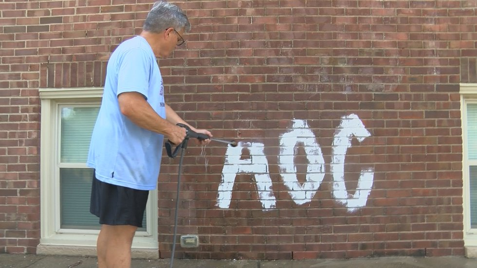 A power washer removed the graffiti on the building hours after it was discovered.